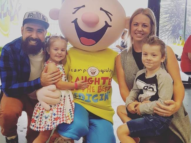 Luke, Harper, 4, Katie and Eli, 6, Rollinson who have been affected by eye cancer.