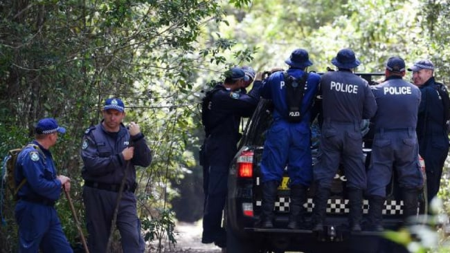 NSW Public Order and Riot Squad Police search near Bonny Hills on the NSW mid-north coast in March, 2015. Photo: AAP