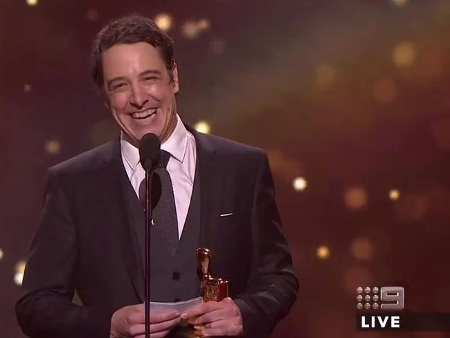 Samuel Johnson during his acceptance speech as he wins the Gold Logie at the 2017 Logies. Picture: Supplied