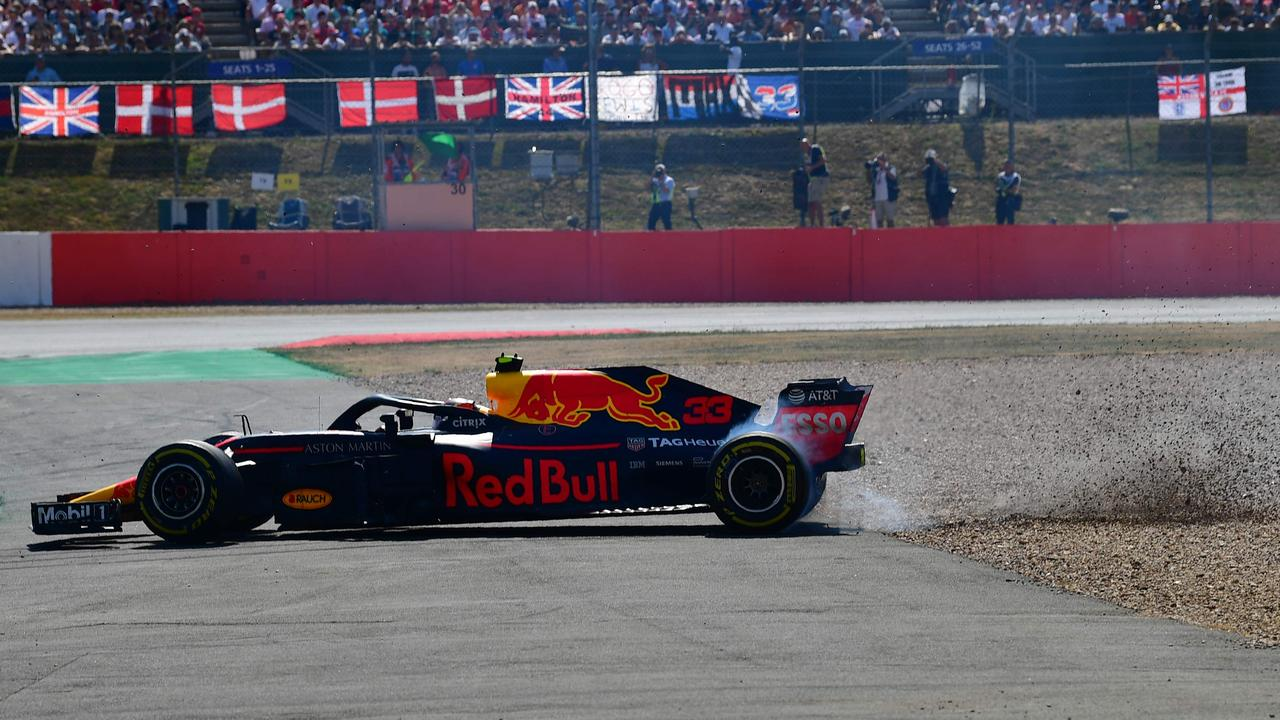 A brake problem sent Max Verstappen spinning out of fifth late in the British GP.