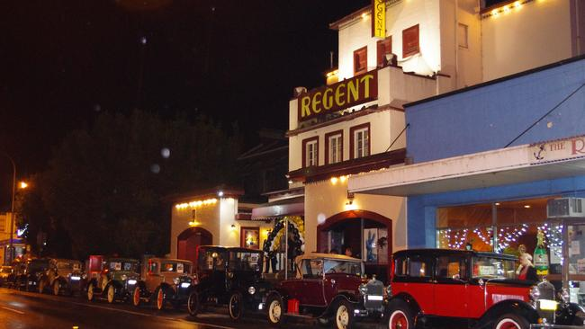 Old cars lined the street for a Gatsby function held at the Regent.