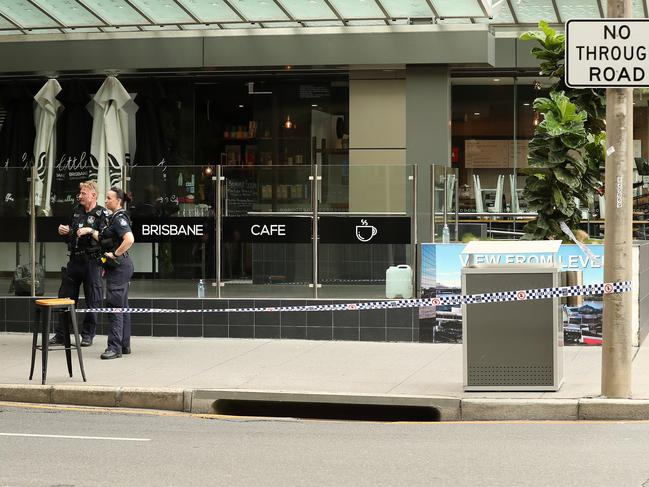 Police have created a crime scene blocking off Mary St in front of the Westin hotel, Brisbane. Picture: Liam Kidston