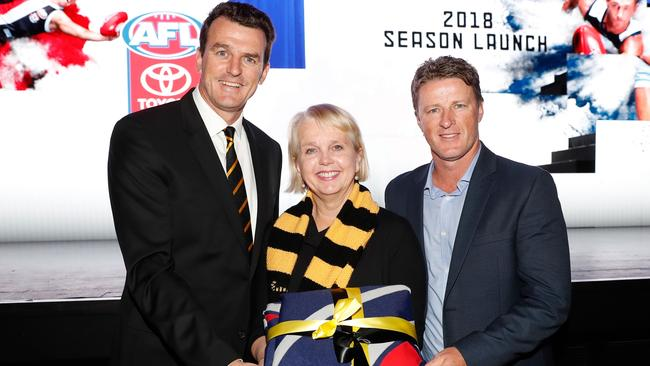 Richmond CEO Brendon Gale, president Peggy O'Neal and coach Damien Hardwick.