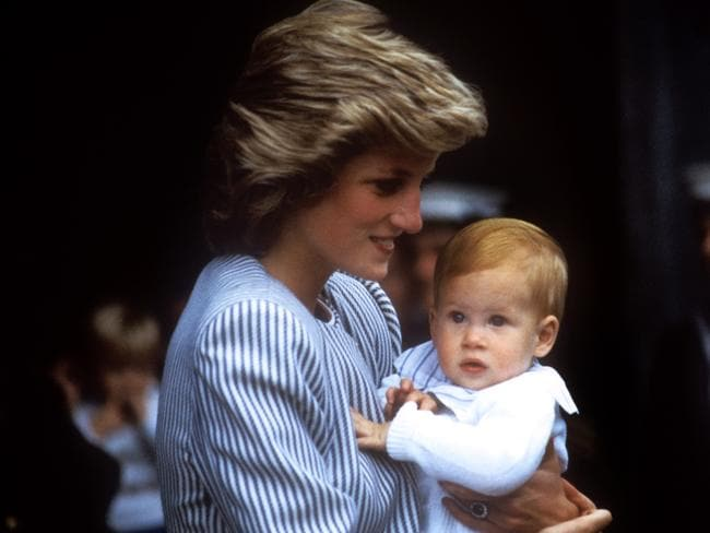 Diana with baby Harry. Picture: Getty Images