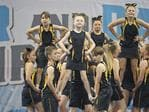 The Swansea Swans Allstars competing at the Infinite Spirit Tasmania Cheer and Dance Championships at Kingborough Sports Centre. Picture: LUKE BOWDEN