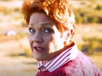Pauline Hanson gets stuck on Uluru. Picture: Supplied
