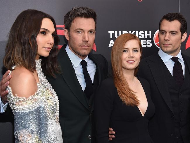 Gal Gadot with her co-stars Ben Affleck, Amy Adams, and Henry Cavill. Picture: AFP / Dimitrios Kambouris