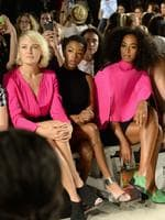 Malin Akerman, Samira Wiley and Solange Knowles attend the Milly By Michelle Smith Fashion Show during Spring 2016 New York Fashion Week. Picture: Getty