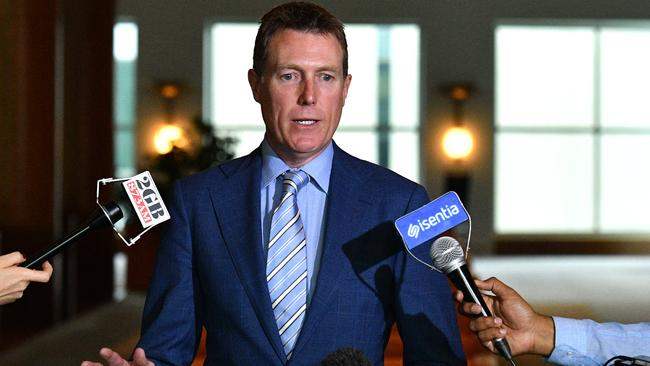 Attorney-General Christian Porter at a press conference at Parliament House in Canberra, Tuesday, December 4, 2018. Picture: Mick Tsikas
