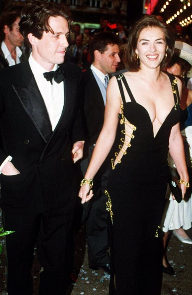Hugh Grant and Elizabeth Hurley attend the Four Weddings and a Funeral premiere in 1994. Picture: UPPA.