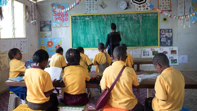 Pamela's school is in a remote location which means teachers live at the school in small huts that have no showers and a pit toilet. The school needs more classrooms, a water supply and library. Picture: CARE Australia.