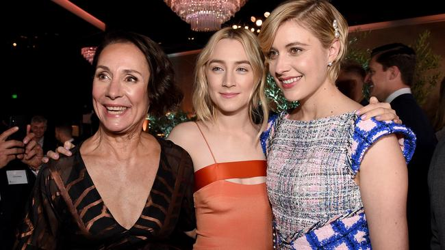 Laurie Metcalf, Saoirse Ronan and Greta Gerwig at Oscars nominees luncheon. Picture: Getty/Kevork Djansezian