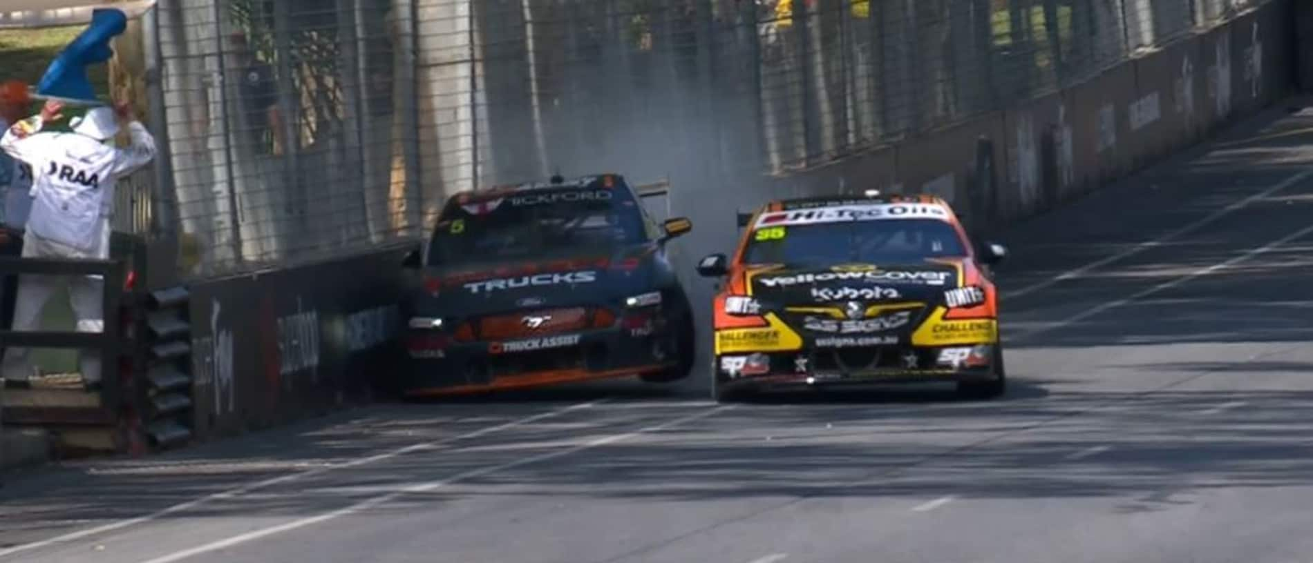 Lee Holdsworth and Garry Jacobson collide in Practice 1.