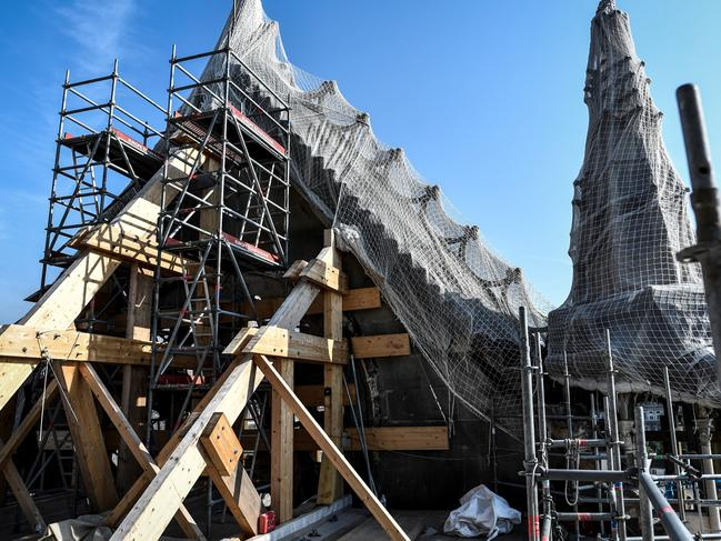 Scaffolding is seen during preliminary work on top of the Notre Dame Cathedral. Picture: AP
