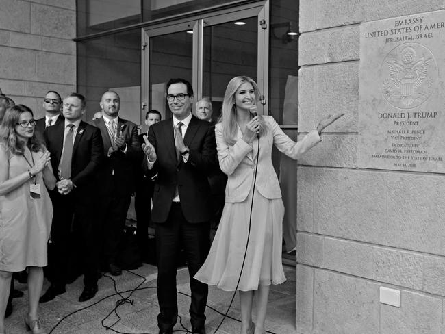 US Treasury Secretary Steve Mnuchin claps as Ivanka Trump unveils the inauguration plaque during the opening of the US embassy in Jerusalem. Picture: AFP