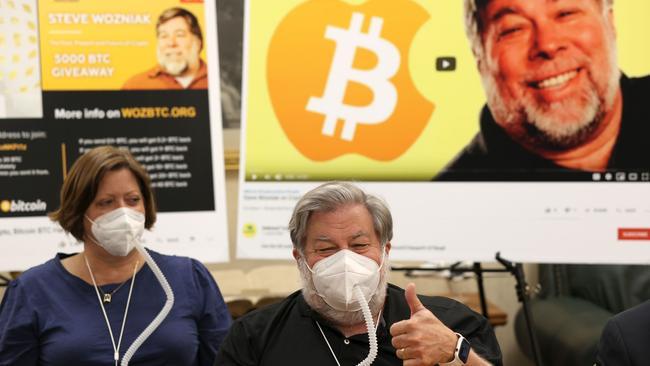 Apple co-founder Steve Wozniak gives the thumbs-up as he speaks during a press conference with his wife Janet Wozniak on Thursday. Picture: Justin Sullivan/Getty Images/AFP