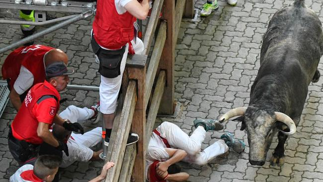 Cowering coward: A runner tries to protect himself after falling during the bull run. Picture: AFP/Jose Jordan