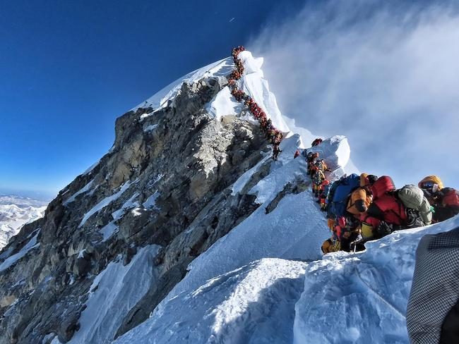 The photo shows hundreds of climbers in a traffic jam as they near the summit of Mount Everest. Picture: Project Possible