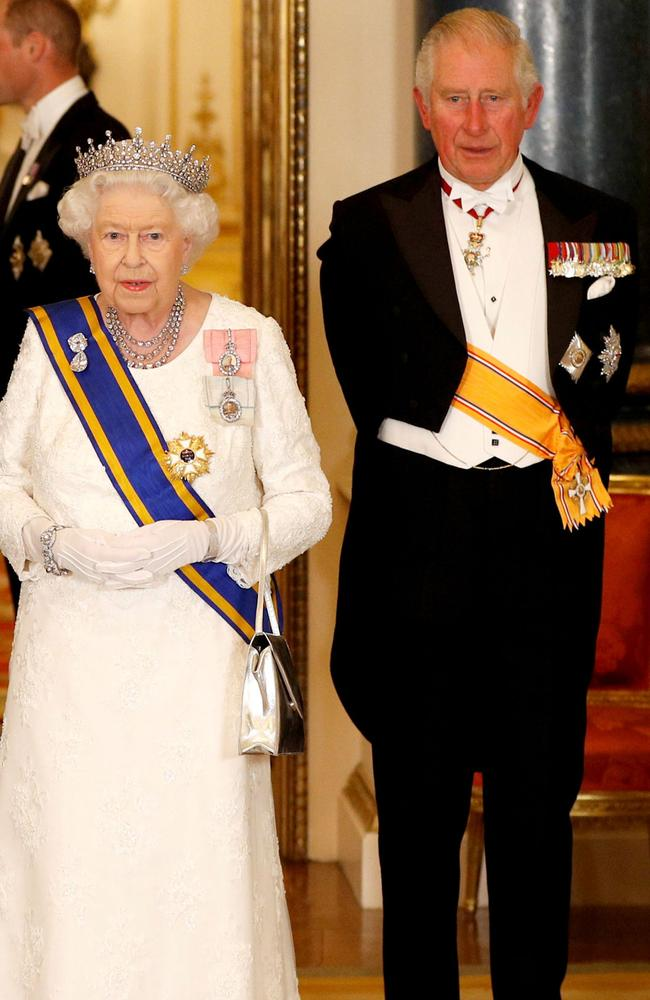 The Queen and Prince Charles at a State Banquet last month. Photo: Peter Nicholls/Pool/AFP