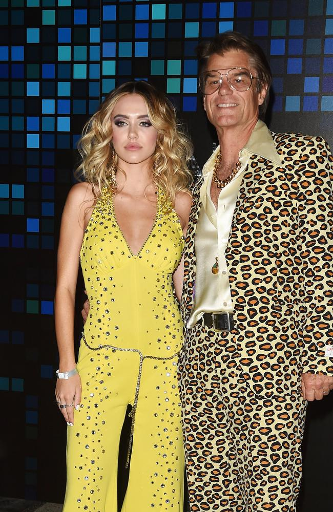Delilah Belle Hamlin attends the Casamigos Halloween costume party with dad, Harry Hamlin. Picture: Splash