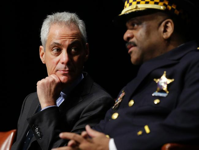 Chicago Mayor Rahm Emanuel talks with Police Superintendent Eddie Johnson during the graduation ceremony of new police officers March 15, 2017 in Chicago, Illinois. Picture: AFP Photo