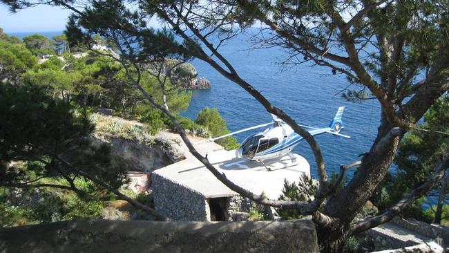 Helicopter is the best way to get on and off the island today. Picture: LuxuryItalianIsland.com