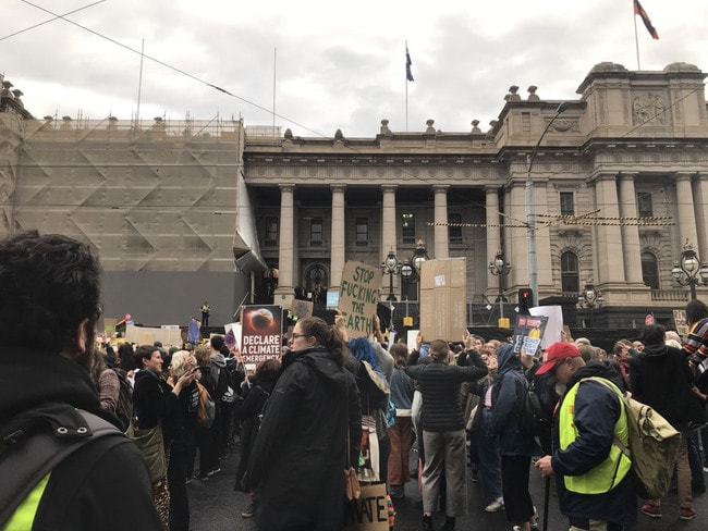 Protesters outside Parliament in Melbourne. Picture: Rohan Smith