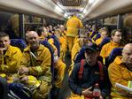 A busload of CFS volunteers en route to help fight Kangaroo Island bushfires. Picture: Leon Bignell