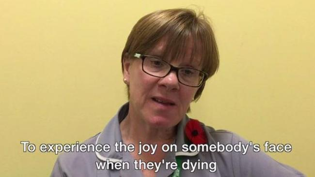 """""""To experience the joy on somebody's face when they're dying and their dog's been in to see them is priceless,"""" Ms Massey said. Picture: BBC"""