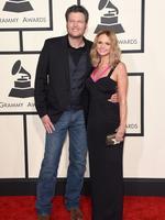 Blake Shelton (L) and Miranda Lambert attend the 2015 Grammy Awards. Picture: Getty
