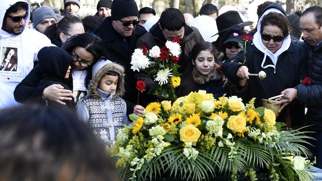 Loved ones attend Valerie Reyes' attend burial at Greenwood Union Cemetery in Rye, New York. Picture: Tyler Sizemore/Heast Connecticut Media