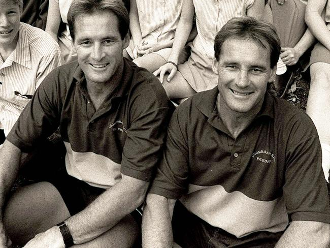 Paul and Chris Dawson as Coombabah High School teachers in the early 1990s.