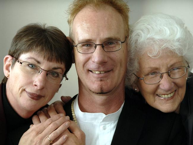 Andrew Mallard with his sister Jacqui Mallard and mother Grace Mallard. Picture: Stewart Allen