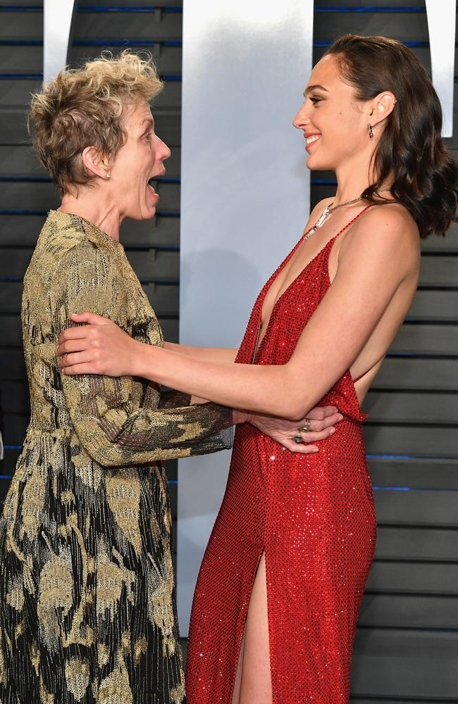 Frances McDormand and Wonder Woman star Gal Gadot aat the 2018 Vanity Fair Oscar Party in Beverly Hills. Picture: Getty Images