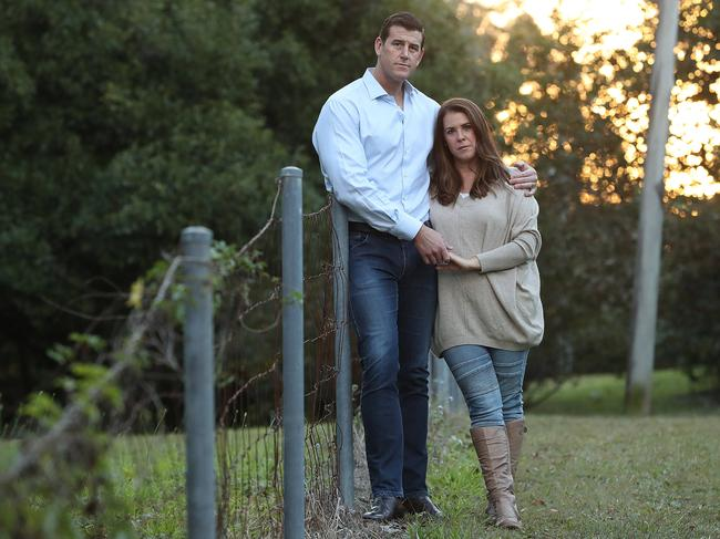 Australia's most decorated Afghanistan veteran Ben Roberts-Smith with his wife Emma, on the Sunshine Coast. Picture: Lyndon Mechielsen/The Australian