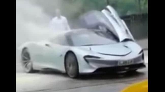 A McLaren Speedtail prototype caught fire in June 2019. Picture: YouTube
