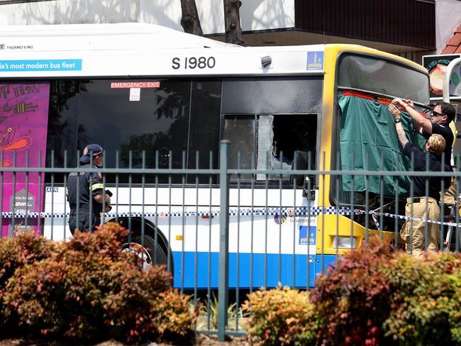 Bus explosion at Moorooka. Picture: Tara Croser.
