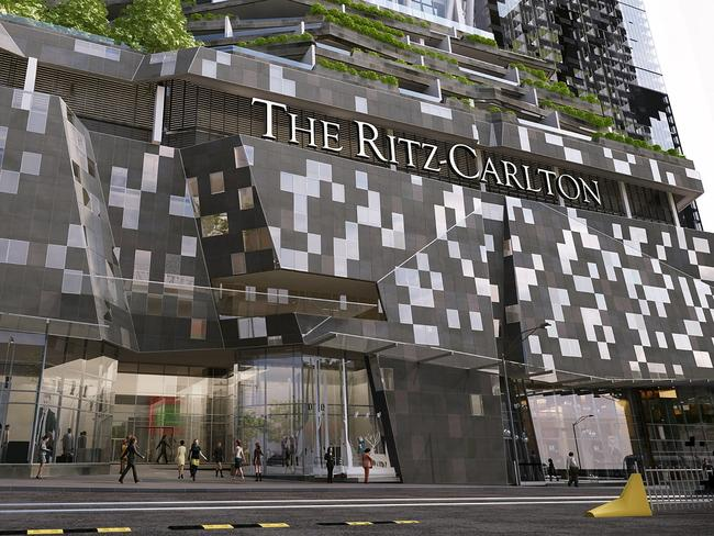 Melbourne's Ritz Carlton, above, will include sky restaurants, a sky bar, a pool, a pool bar, a gym, a day spa and a ballroom.
