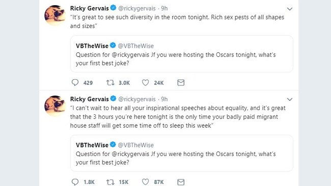 Ricky Gervais reveals the jokes he'd open with at the Oscars if he were hosting.