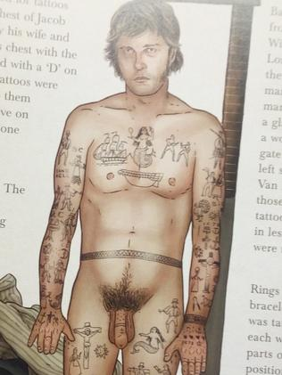 Thirty-one-year-old convict Isaac Comer's tattoos included 'seven stars, two rings, and an anchor between legs ... on his yard', a yard being colonial parlance for penis. Picture: CS/Convict Tattoos