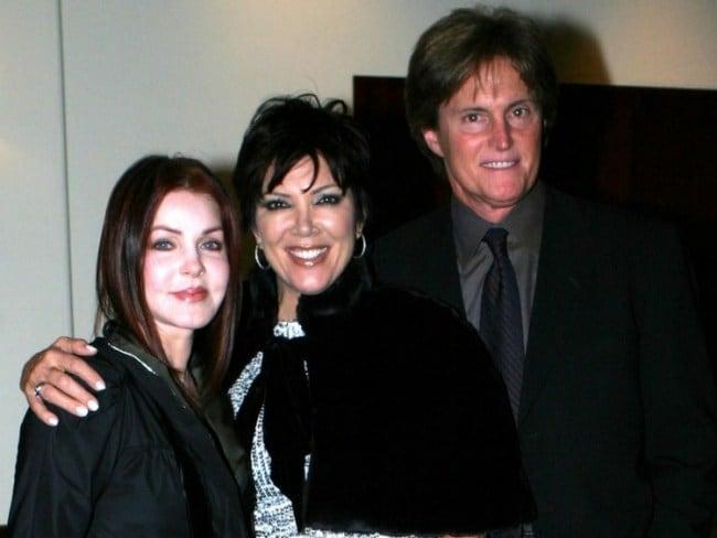 Priscilla Presley, Kris Jenner and then husband Bruce Jenner. Photo: Getty