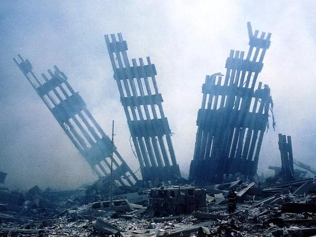 This file photo taken on September 11, 2001 shows the rubble of the World Trade Center smouldering following the collapse of the towers. Picture: AFP