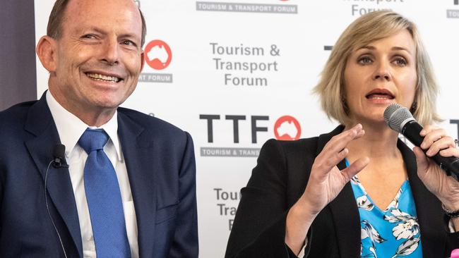 Tony Abbott and Zali Steggall, the frontrunners in Warringah. Picture: Monique Harmer