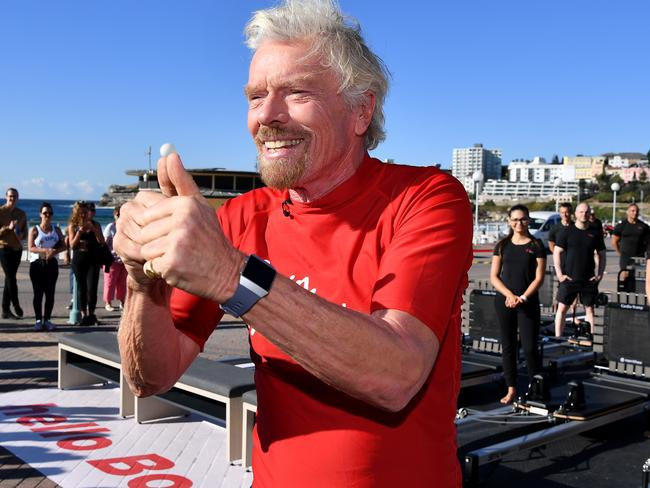 British entrepreneur Sir Richard Branson speaks to the media at Bondi Beach in Sydney this week where he launched his next Virgin Active gym. Picture: AAP