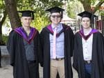 Neil Rothwell, Ben Lister and Dylan Barnett at the UTAS Graduation at Launceston. PICTURE CHRIS KIDD