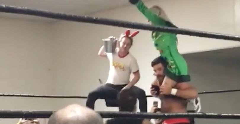 Actor Macaulay Culkin Shows Off 'Home Alone' Moves at California Wrestling Match. Credit - Facebook/Dan Black via Storyful