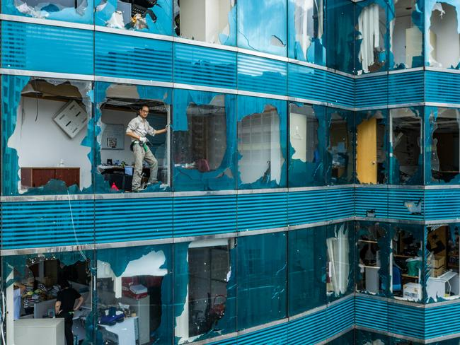 The aftermath of Typhoon Mangkhut in Hong Kong. Picture: Getty