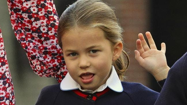 The cheeky young royal gave photographers a wave. Picture: Aaron Chown/Pool via AP