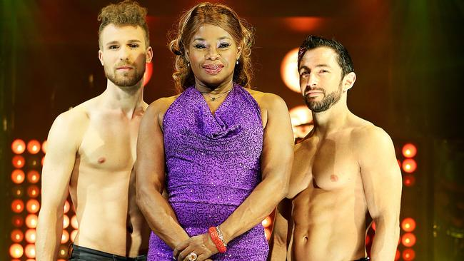 Disco balls: Marcia Hines with Velvet co-stars Stephen Williams and Mirko Kockenberger.