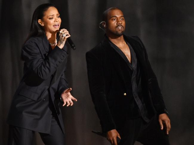 Rihanna and Kanye West perform at the 57th annual Grammy Awards in Los Angeles.